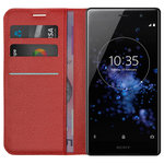 Leather Wallet Case & Card Holder Pouch for Sony Xperia XZ2 Premium - Red